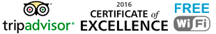 Excelence certified by TripAdvisor and Free wifi